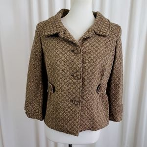 Ann Taylor Loft Brown & Beige Patterned Blazer